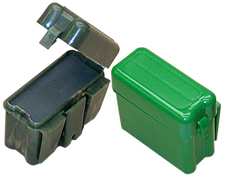 Small plastic boxes that go on belts and straps.